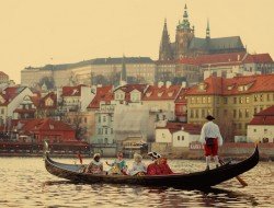 Original Venetian gondola beneath Prague Castle | gondolier