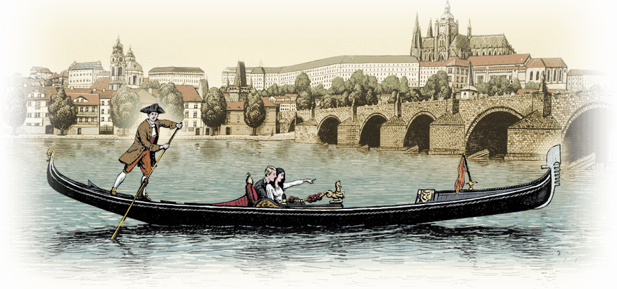 Drawing Venetian gondola on Vltava | gondolier