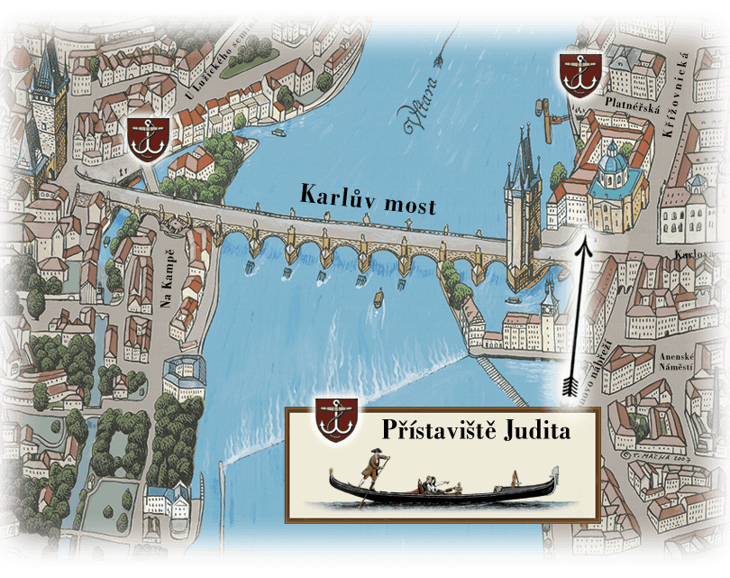 Map dock where sails original Venetian gondola | gondolier
