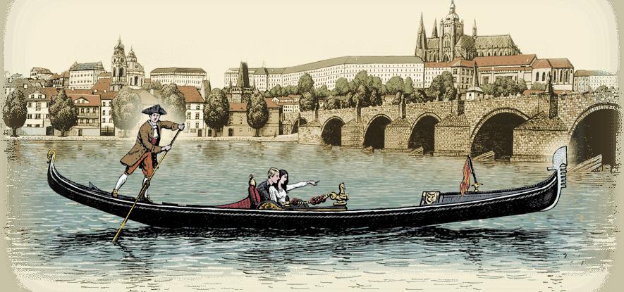 伏尔塔瓦河上的威尼斯绘画贡多拉|船夫